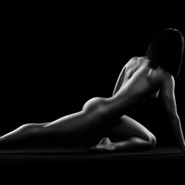Johan Swanepoel: 'nude woman bodyscape 5', 2019 Black and White Photograph, Nudes. Artist Description: Nude figurative bodyscape of a naked woman in a stretched sitting position against a black dark background. Sensual fine art photography of the female full body...