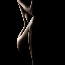 Johan Swanepoel: 'silhouette of nude woman', 2019 Black and White Photograph, Nudes. Artist Description: Silhouette of a nude woman in a sitting position against black background. Fine art naked bodyscape photographed from the front. Sensual body...
