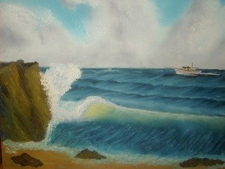 John Hughes: 'Crashing Wave', 2016 Oil Painting, Seascape. Original Oil Painting on Double Primed Cotton Canvas. Unframed. ...