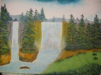 John Hughes: 'Twin Waterfalls', 2016 Oil Painting, Landscape. Original Oil Painting on Double Primed Cotton Canvas. Unframed. ...