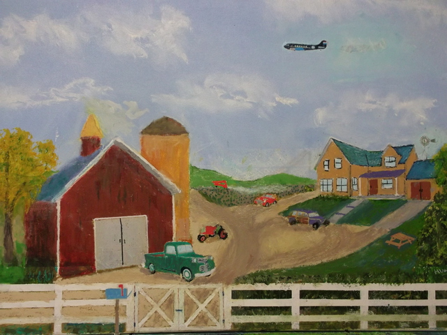 John Hughes  'Vintage Farm', created in 2016, Original Painting Oil.