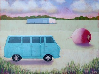 John Cielukowski: 'blue ford van', 2017 Acrylic Painting, Landscape. Original acrylic painting on a reclaimed wood panel.Finished edges.  Ready to hang....