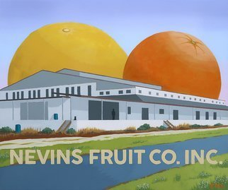 John Cielukowski: 'nevins fruit co titusville fl', 2018 Acrylic Painting, Landscape. Original acrylic painting on a birch wood dimensional panel.The Nevins building is an old abandoned citrus packing house.Finished edges.  Ready to hang....