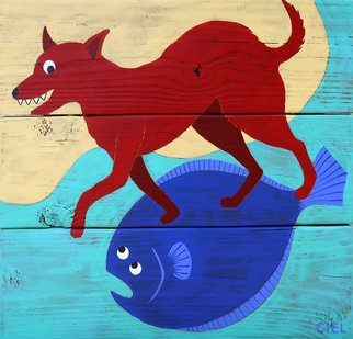 John Cielukowski: 'rex riding a blue flounder', 2020 Acrylic Painting, Animals. Original acrylic paintings on aged pine fencing. Ready to hang. ...