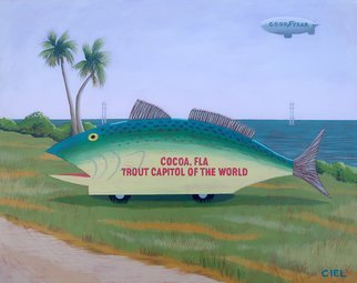 John Cielukowski: 'trout farm float cocoa florida', 2019 Acrylic Painting, Landscape. Original acrylic painting on a Masonite panel...