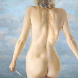John Carwithen: 'Calling', 2003 Oil Painting, nudes. Artist Description: Why do we love the sea?She has a feather as a token of what? ...