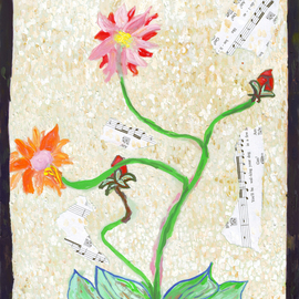 John Douglas: 'In the Garden like Yeats 1', 2015 Other Painting, Floral. Artist Description:    Gouache and music sheet collage on paper. 1 of a series.  ...