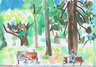John Douglas: 'hyde park', 2017 Gouache Drawing, Trees. Hyde Park, Sydney, Australia. Gouache and pen on paper. From life. ...
