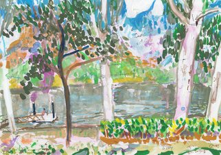 John Douglas: 'rossiter park pontoon', 2015 Other Painting, Landscape. Rossiter Park Pontoon, Townsville, Australia.Gouache and pen on paper. From life. ...