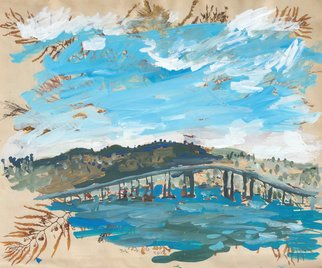 John Douglas: 'tasman bridge', 2015 Other Painting, Landscape. Tasman Bridge, Hobart, Tasmania, Australia.Gouache on a magazine page. From life. ...