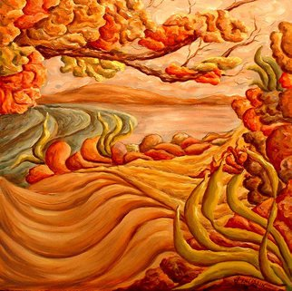 John Entrekin: 'Autumn Through Trees', 2008 Oil Painting, Abstract Landscape.  This was done from a scene I saw driving down the highway in the fall. I enjoy doing these sort of abstracts where the land and all the things in it are connected and swirling together as they do in my mind and as the are all connected to each...