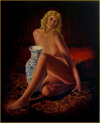 John Entrekin: 'Heather With Jug', 2009 Oil Painting, nudes.  A nude done from life sketches and photos. This was done in another studio I had where I had a large oriental rug. The model was very slender and enjoyed just hanging out in the rug while I worked. I took photos of her one day and it was her...