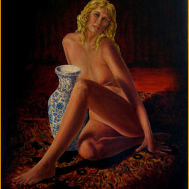 John Entrekin: 'Heather With Jug', 2009 Oil Painting, nudes. Artist Description:  A nude done from life sketches and photos. This was done in another studio I had where I had a large oriental rug. The model was very slender and enjoyed just hanging out in the rug while I worked. I took photos of her one day and it ...