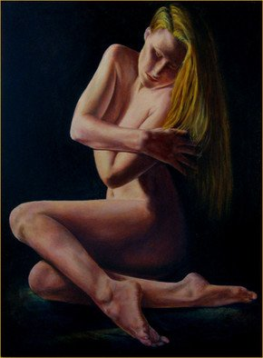 John Entrekin: 'Wrapped in Beauty', 2009 Oil Painting, nudes. Nude done from life and photos of one of my models in my studio. This model was a dancer and a yoga instructor as well as an actress. She often would take an idea I had and create poses from it in attempts to express what I was saying.  I ...