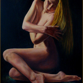 John Entrekin: 'Wrapped in Beauty', 2009 Oil Painting, nudes. Artist Description: Nude done from life and photos of one of my models in my studio. This model was a dancer and a yoga instructor as well as an actress. She often would take an idea I had and create poses from it in attempts to express what I was ...