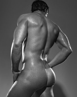 John Falocco Artwork Male Nude Back, 2012 Black and White Photograph, Body