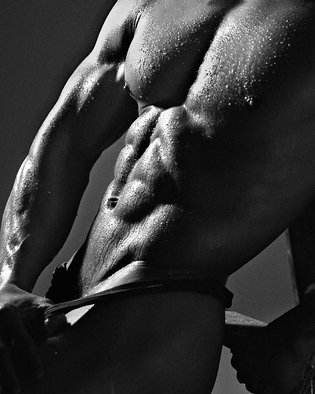 John Falocco: 'Wet Torso', 2016 Black and White Photograph, Body. Artist Description: Photographic Torso Image...