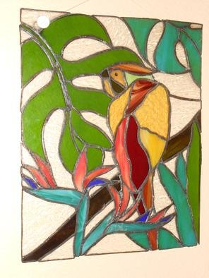 Stained Glass by John Gibb titled: parrot in heaven, created in 2012