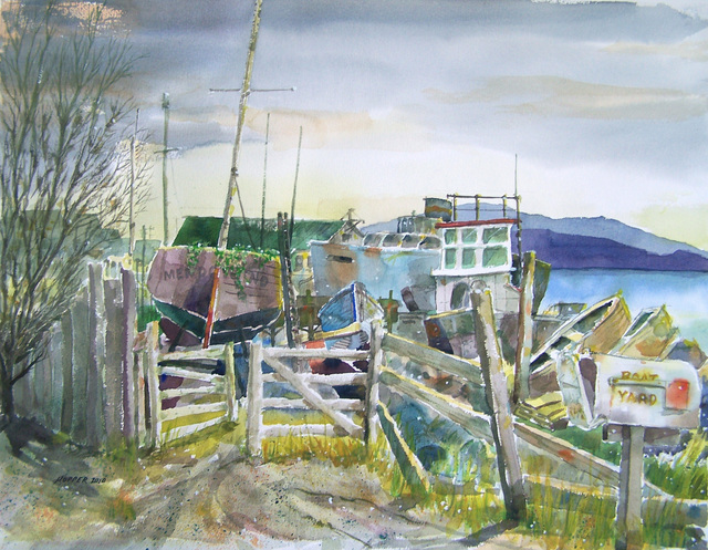 John Hopper: Mendocino Boatyard, 2012 Watercolor