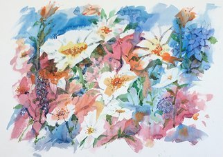 John Hopper: 'mixed bouquet', 2018 Watercolor, Floral. Artist Description: Concept for  Mixed Bouquet  is based on the  Open Flow  technique pioneered by Guy Lipscomb. ...