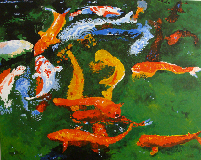 Juan carlos vizcarra artwork koi pond 2008 original for Koi pond depth