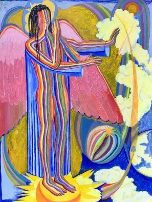 John Powell: 'Angel protecting the Earth ', 2019 Acrylic Painting, Religious. This painting is the first of four Angels that are standing on the four corners of the earth, holding back the winds from destroying the earth until the servants of God are sealed in their forehead.  This angel is standing on the west.  You may order high- end prints of ...