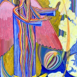 John Powell: 'Angel protecting the Earth ', 2019 Acrylic Painting, Religious. Artist Description: This painting is the first of four Angels that are standing on the four corners of the earth, holding back the winds from destroying the earth until the servants of God are sealed in their forehead.  This angel is standing on the west.  You may order high- end ...
