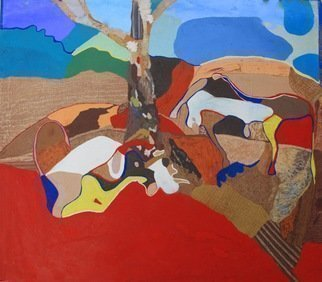 John Powell Artwork Cows in Dialogue, 1987 Giclee, Abstract Landscape