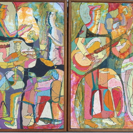 John Powell: 'Jamaica Regiment Band Original', 1993 Oil Painting, Abstract Figurative. Artist Description:  From music series and is in a catalogue for a world touring exhibition; In the collection of Dr. Robinson, Mandeville, Manchester Jamaica; Its a Diptych/ related canvases but each can exist as an entity;  ...