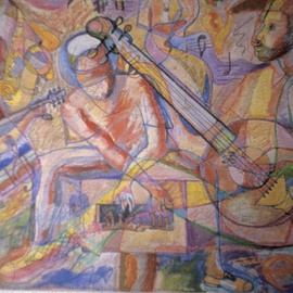 John Powell: 'Mento Band', 1995 Other Painting, Music. Artist Description:    From music series, THis piece/ musicians are Jamaicas famous cultural band; These guys are Internationally know.                                             ...