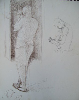 Pencil Drawing by John Powell titled: Telephone love 3, 1990