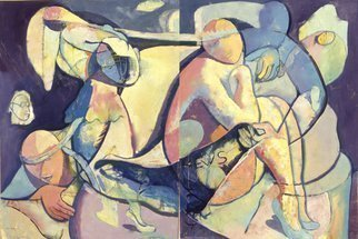 John Powell Artwork Time Passes Diptych, 2009 Giclee, Abstract Figurative