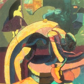 John Powell: 'Time Passes Fist Series', 1990 Oil Painting, Abstract Figurative. Artist Description:  This Painting is the 2nd in the Time series. . . It was collected by the French Embassy; ...