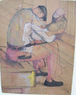 John Powell: 'Trapped in Time Drawing 3', 1991 Pen Drawing, Figurative.  This drawing is from Time series and is a study for a painting to come US520, shipping 2- 3 working days depending on time of order, VIA FeDEx or Express postal service...