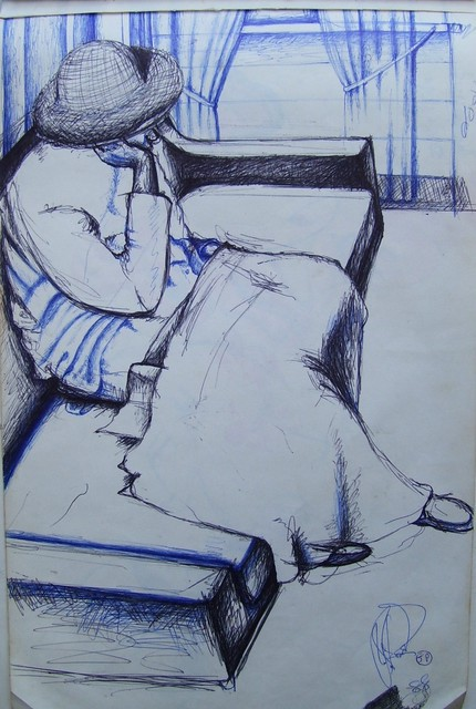 Artist John Powell. ' Thinker 3' Artwork Image, Created in 1987, Original Printmaking Lithography. #art #artist