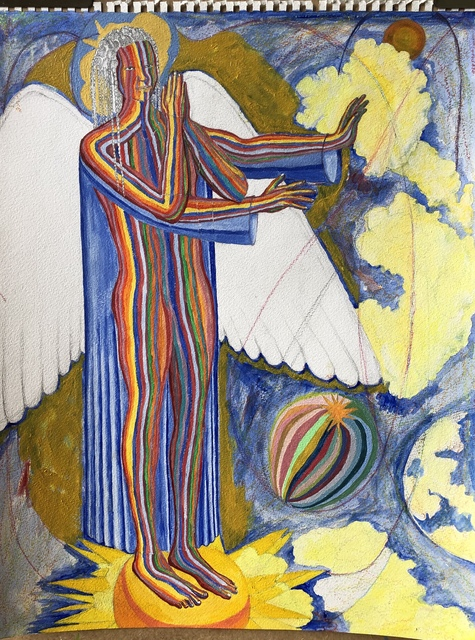 John Powell  'Angel Standing At The East', created in 2019, Original Printmaking Lithography.