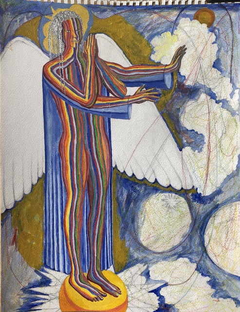 John Powell  'Angel Standing On The East', created in 2019, Original Printmaking Lithography.