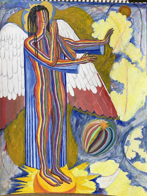 John Powell  'Angel Standing On The West', created in 2019, Original Printmaking Lithography.