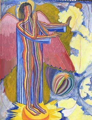John Powell: 'angel standing on the west', 2019 Acrylic Painting, Religious. Artist Description: This piece is the first of four paintings of the four angels that standing on the four corners of the earth, holding back the winds from destroying the earth until the servants of God are sealed in their forehead Revelation 7 ...