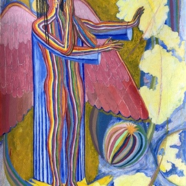 John Powell: 'angel standing on the west', 2019 Acrylic Painting, Architecture. Artist Description: This painting is the first of four angels standing on the four corners of the earth, holding back the winds from destroying the earth until the servants of God are sealed in their forehead   on the theme:  Angels of Destruction  taken from Revelation 7...