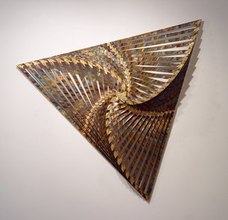 John Searles: 'Rotating Triangles', 2007 Other Sculpture, Geometric. Artist Description: Sold - Welcoming Commissions in any color.16 level wall sculpture, 55 x 55 x 55 x 8, made from copper with brass and flame induced patina, 45 lbs. , laminated to 1/ 4