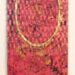 Tall Red Waterfall Weaving, Copper By John Searles