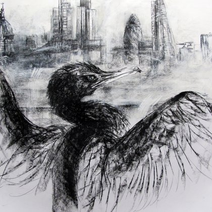 , Cormorant Thames The City, Surrealism, $892