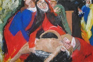 John Sims: 'Lamentation on the death of a small Christ', 2011 Oil Pastel, Religious. Animalfantasyfigure Christian, figurative, expressionist, mythology, christ...