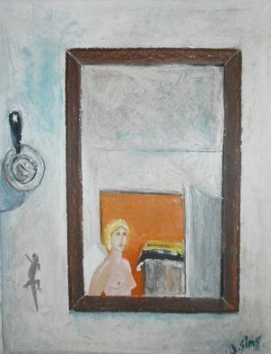 John Sims: 'angel in my room cyprus', 2010 Oil Pastel, Interior. Artist Description: With the help of Cyprus Brandy I spotted this Angel in the mirror hanging in my room at the Cyprus College of Art in Lemba. Oil Pastel on paper...