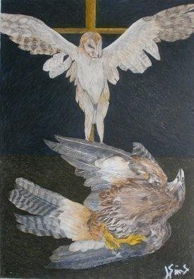 John Sims: 'at the base of a crucifixion', 2013 Crayon Drawing, Birds. As an illustrator I frequently used colour pencils and crayons, in 2012 13 I started to use them again to draw birds, dead and alive. These nature morte drawings were inspired by 17 century Spanish painters...