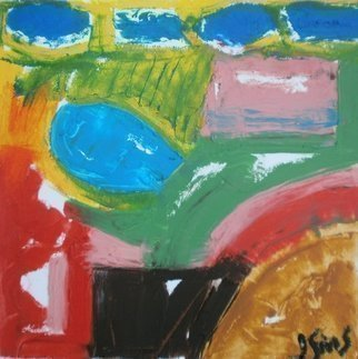 John Sims: 'feeling like it was summer', 2017 Oil Painting, Abstract. Artist Description: Another small oil on paper painting made in November but thinking about Summer...