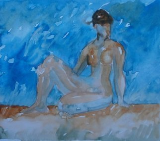 John Sims: 'girl on a beach in my head', 2016 Watercolor, nudes. Another girl in my head. Watercolour on paper...