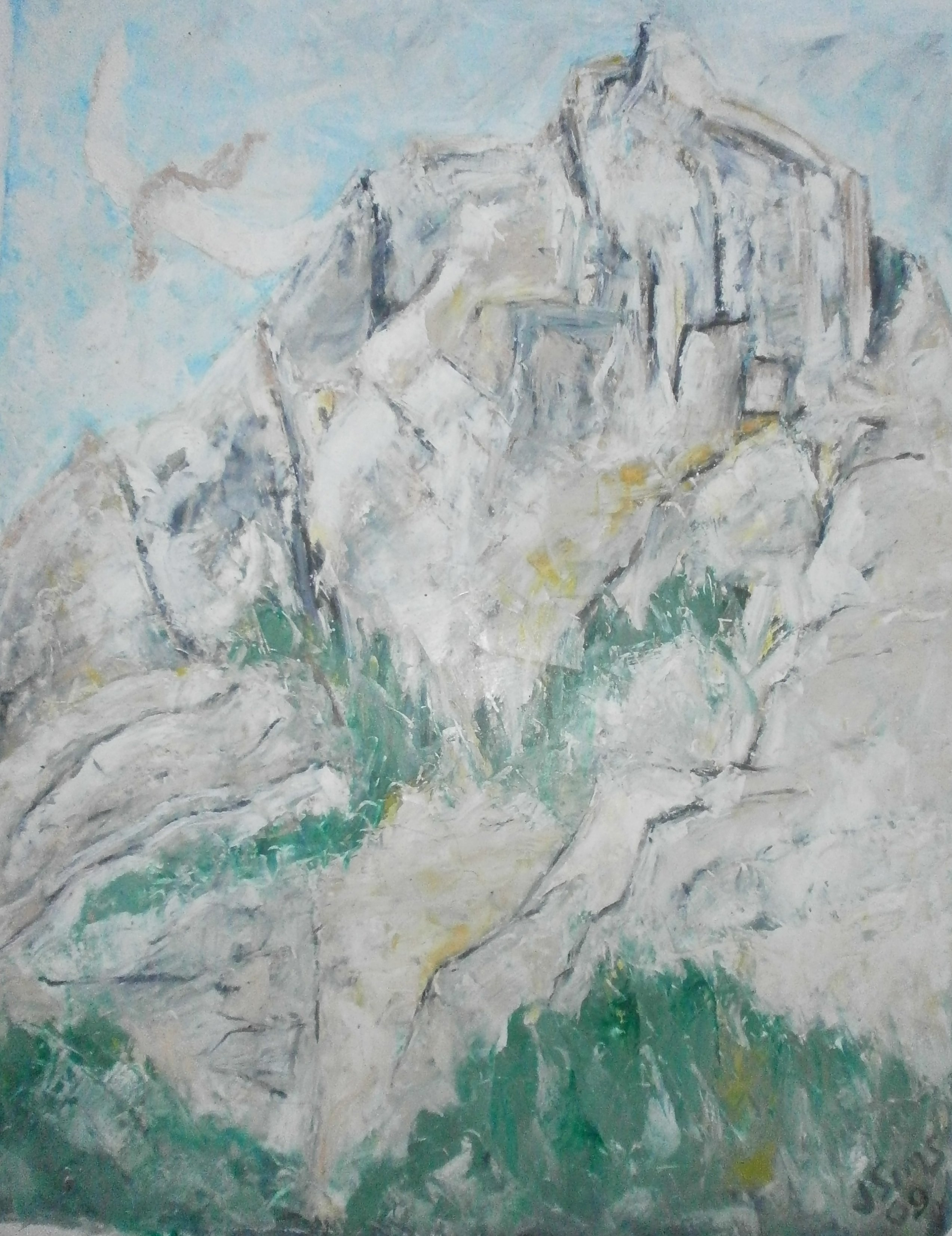 John Sims: 'icarus in switzerland', 2009 Oil Pastel, Landscape. Artist Description: In summer 2009 I was invited to represent Cyprus at a stone carving symposium in the mountain village of Vattis in Switzerland. When not carving I made drawings of the beautiful landscape all around me. The village is situated in a deep river valley with high mountains on ...