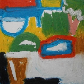 John Sims: 'january doodle', 2018 Oil Painting, Abstract. Artist Description: Making marks, thoughts about abstraction, balance, form and colour...